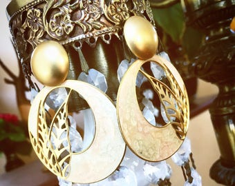 Vintage Champange and Gold Hoop Style Earrings With Golden Leaf Details