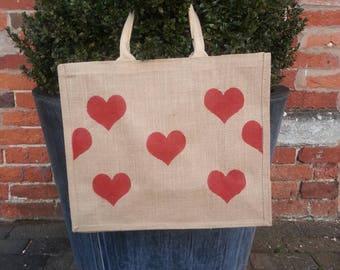Red Heart Love jute/ market/ tote /shopping bag
