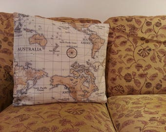Map of South and North America Cushion Cover