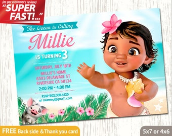 Moana Invitation PRINTABLE Birthday Party Baby Invite FREE Thank You Card V3