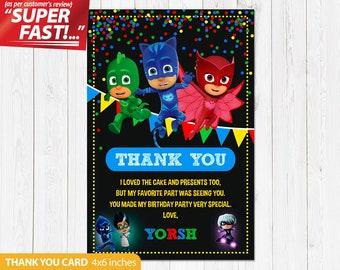 PJ Masks Thank You Card PRINTABLE Pj Birthday Party V1