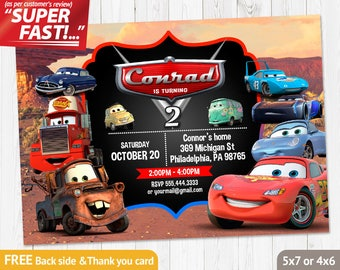 Cars Birthday Invitation PRINTABLE Invites Lightning Mcqueen Party FREE Thank You Card V2