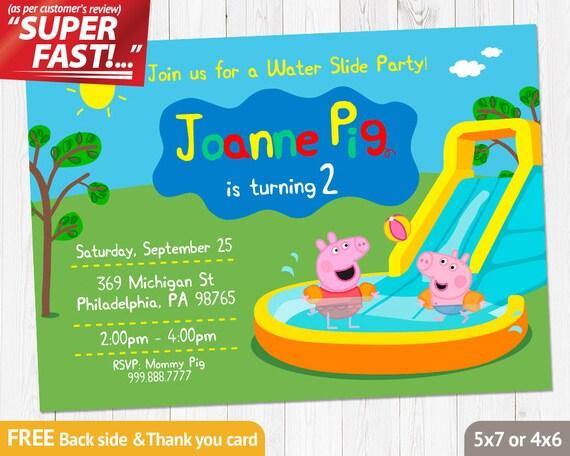 Peppa Pig INVITATION Peppa Pig Birthday Invitation Water