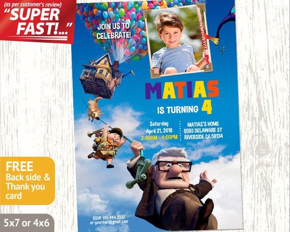 Up Pixar Birthday INVITATION Disney Invitation