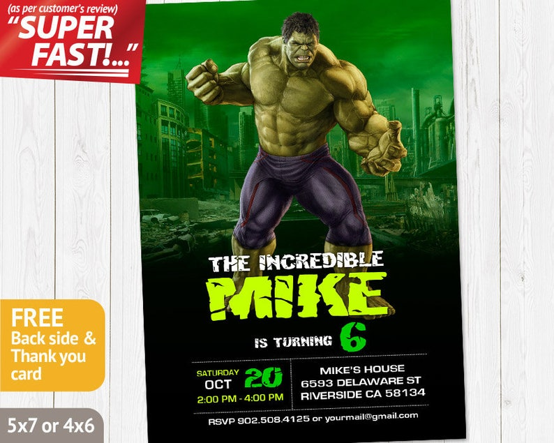 Incredible Hulk Invitation PRINTABLE Birthday