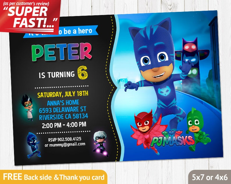 Pj Mask INVITATION Birthday Invitation Catboy
