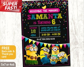 MINION PARTY INVITATION Minion Invitation Minion Birthday