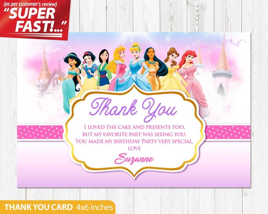 Disney Princess Thank You Card PRINTABLE Birthday