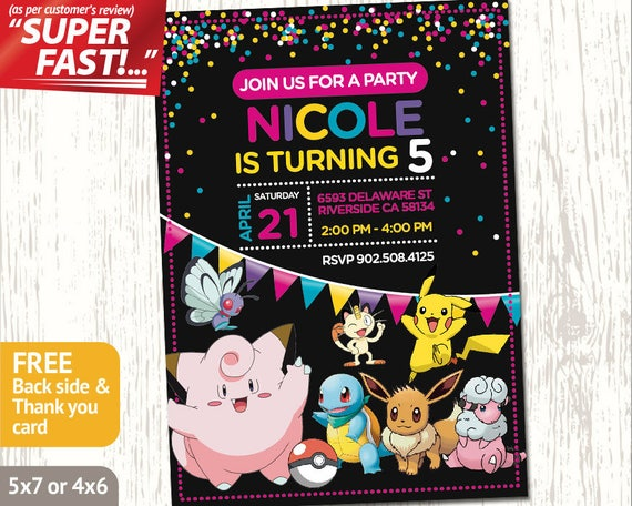 POKEMON BIRTHDAY PARTY Invitation Girl Pokemon