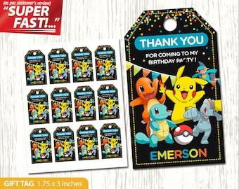 Pokemon Thank You Tag Printable, Pokemon Favor Tags, Gift Tag, Pokemon Birthday Tags, Label, Pokemon Party Tag, Boy Pokemon, v2
