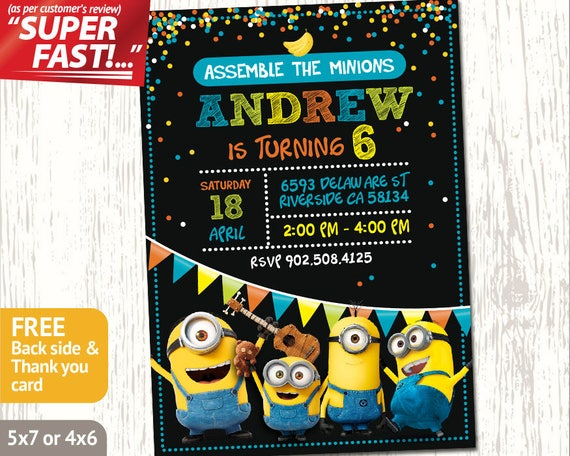 Minion Party Invitation Minion Invitation Minion Birthday Etsy