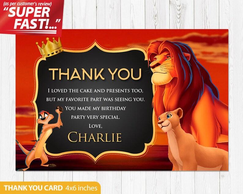 Roi Lion Merci Carte Imprimable Lion Roi Anniversaire Merci Carte Fête Danniversaire Roi Lion Lion Roi Personnalisé V1
