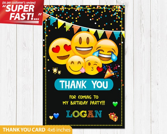 Emoji Thank You Card PRINTABLE Birthday