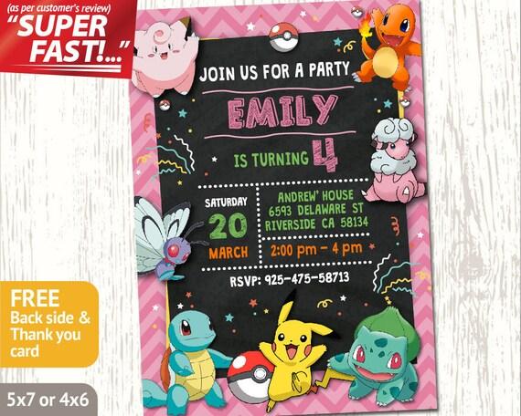 POKEMON BIRTHDAY INVITATION Girl Pokemon Invitation