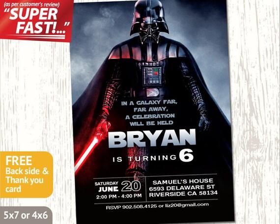Darth Vader Invitation Star Wars Invitation Star Wars Party Etsy