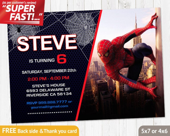 Spiderman Invitation Printable Spiderman Birthday Invitation Etsy