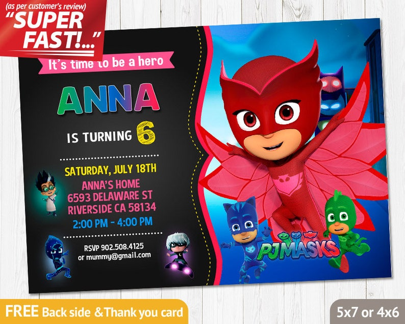 PJ Mask INVITATION Pj Birthday Invitation Owelette