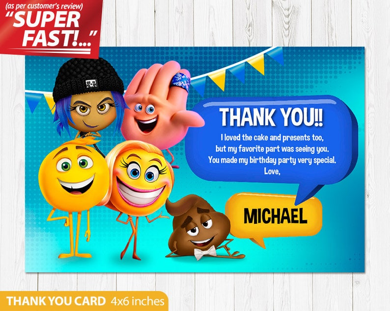 Emoji Movie Thank You Card PRINTABLE Birthday Party