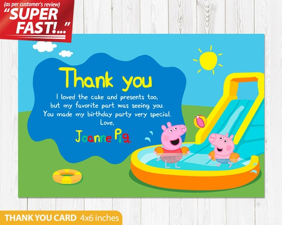 Peppa Pig Thank You Card Peppa Pig Birthday Party Peppa Etsy
