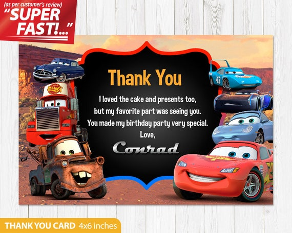 Cars Thank You Card PRINTABLE Birthday