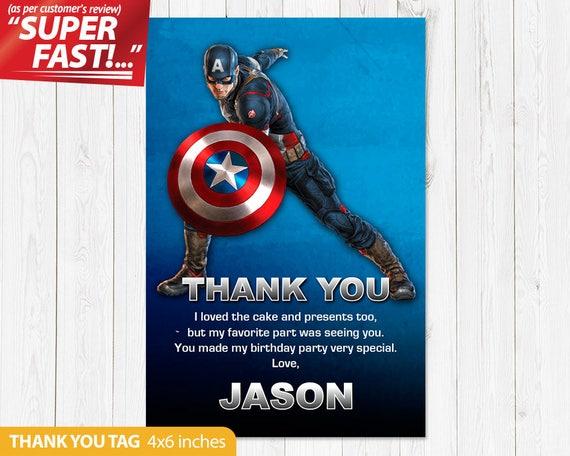 Captain America Thank You Card Printable Captain America Etsy