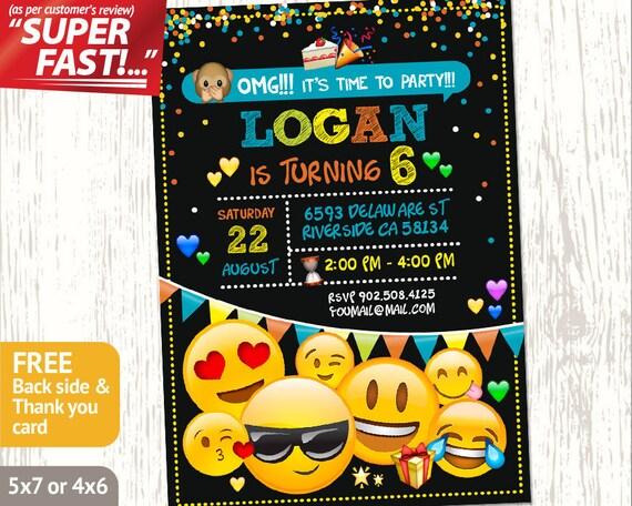 EMOJI INVITATION Printable Emoji Birthday Invitation Boy