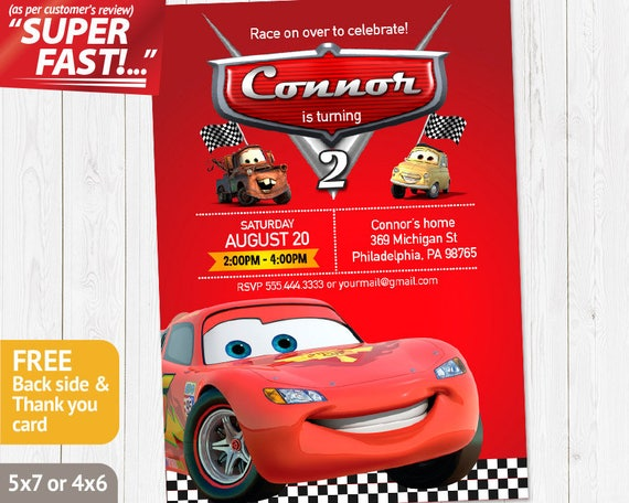 Cars Invitation PRINTABLE Birthday