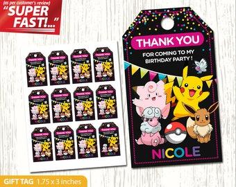 Pokemon Thank You Tag Printable, Pokemon Favor Tags, Gift Tag, Pokemon Birthday Tags, Label, Pokemon Party Tag, Girl Pokemon, v3