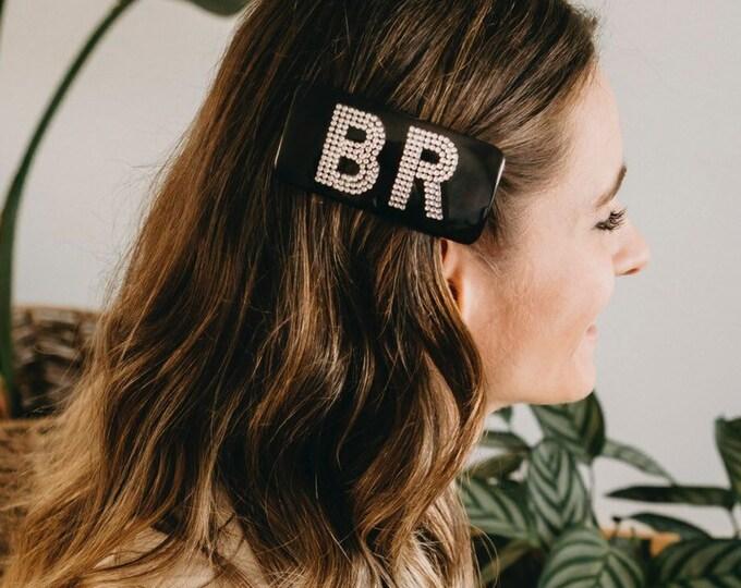 Charlotte tortoise hair clip + silver monogram