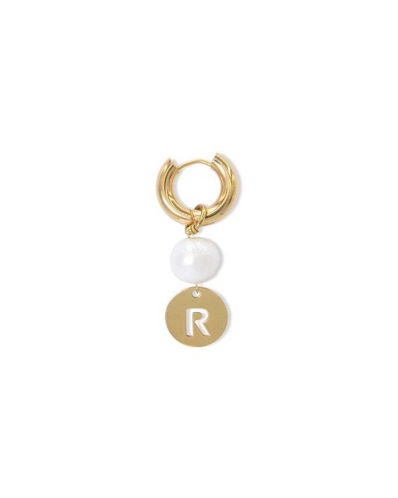 Monogram pearl earring