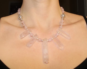 Gorgeous Raw Rose Quartz Necklace With Round Rose Quartz Beads, Bali Beads, and Bali Silver Spacers