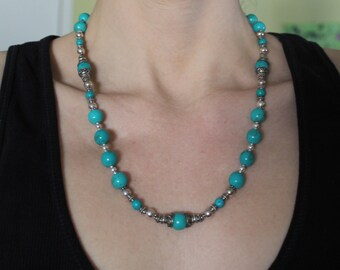Gorgeous Robin's Egg Blue Turquoise Necklace with Bali Silver Bead Caps and Accents