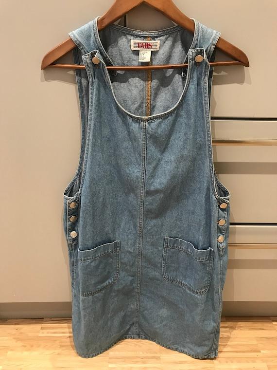 Denim vintage overall dress/ Vintage 90s Denim Jum