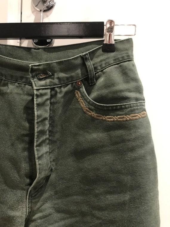 High waisted designer vintage green jeans From Fra