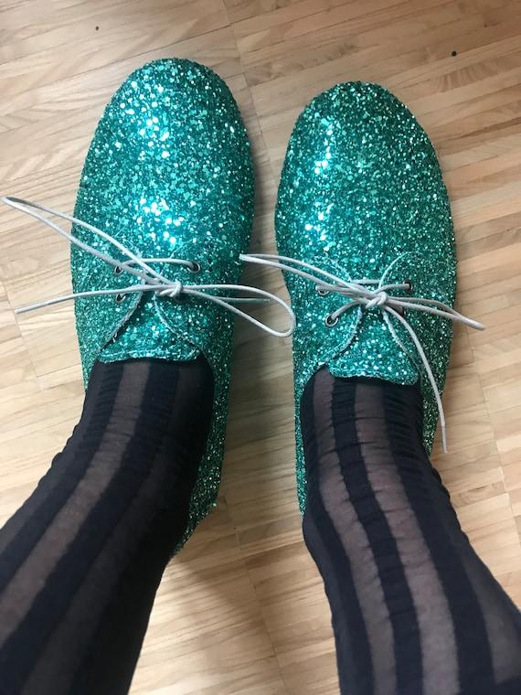 Green glitter ballet shoes handmade In Italy