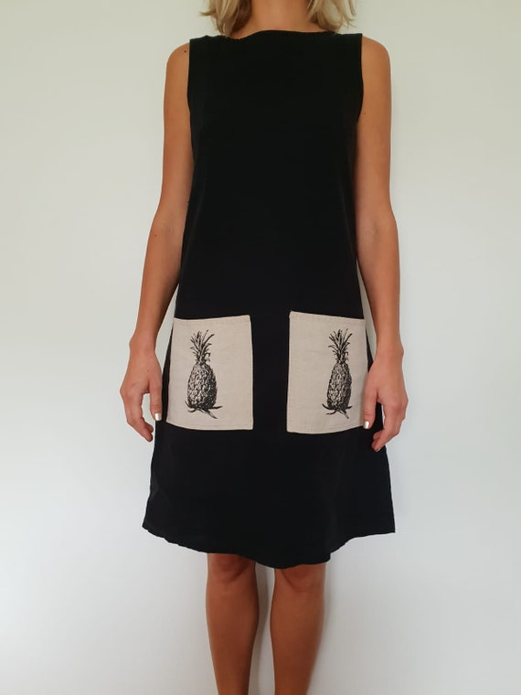 Cotton dress with pineapple pockets