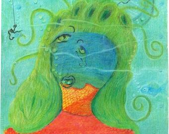 "Mermaid Submerged - 11""x14"""