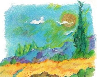 """Farm Field at Sunset - 14""""x11"""""""