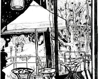 """Night Scene Cafe - B&W - 11""""x14"""""""