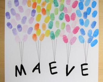 Fringerprints guest book - Balloons - birthday - baptism - baby shower - Cupcake drawing - yummy - thumbprints
