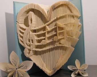 Folded book - Music - Heart - Love - Valentine's gift - Book sculpture - Altered book - Craft