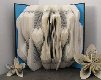 Custom folded book - Date - Dots - Book sculpture - Altered book - Wedding Gift - Anniversary gift - Gay couple gift - paper art - book art