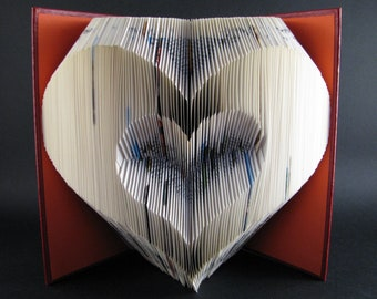 Folded book Heart - Book sculpture - Altered book - Love gift - Valentines Gift - couple gift - idea gift lovers - paper art - home decor