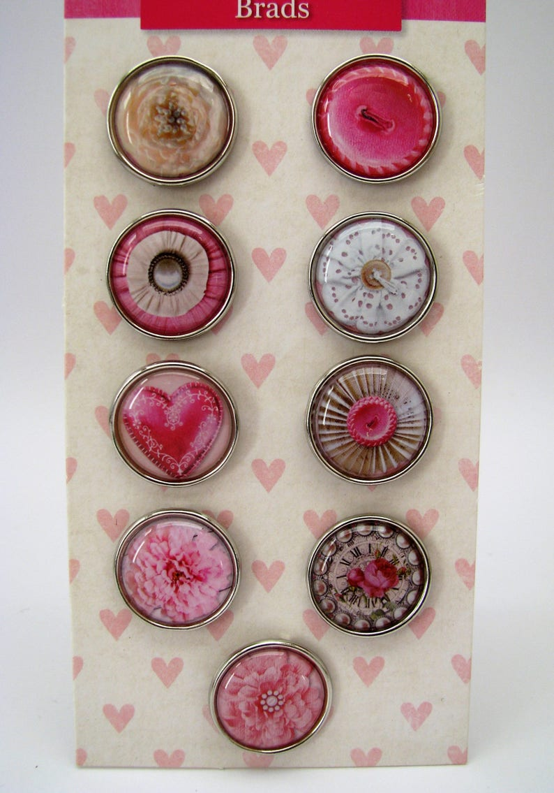 rose heart flowers Set of 9 big brads button pink
