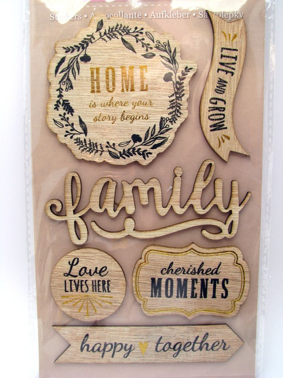 Wood Stickers Family Home Live And Grow Happy Together Cherished Moments