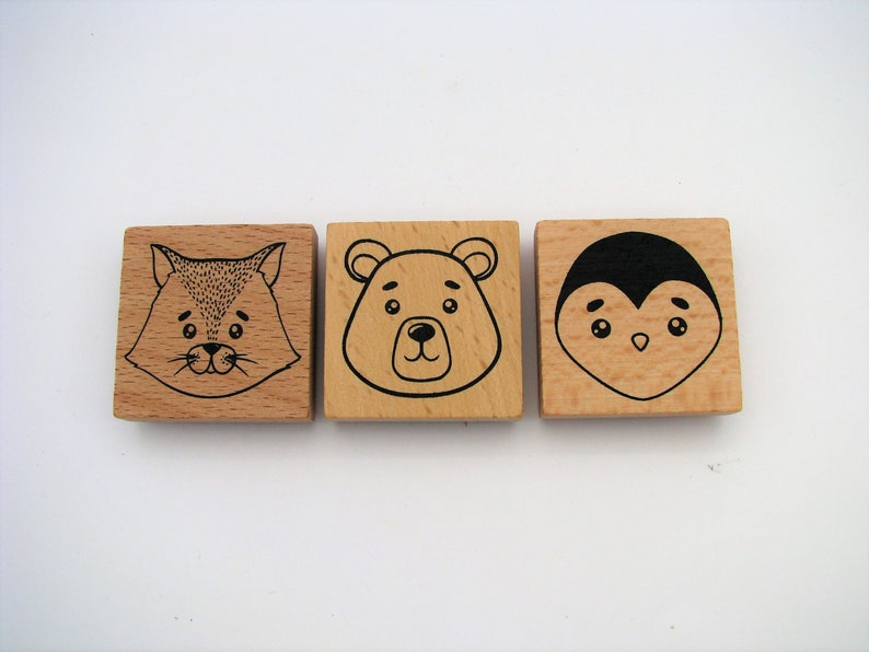 cat 4x4cm bear wood stamp Set of 3 wooden stamps penguin bujo scrapbooking animal stamps bullet journal card marking