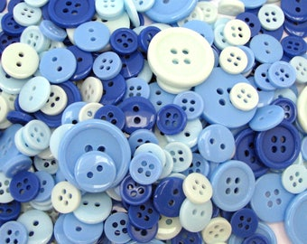 152 buttons - mixed assorted colours - blue - dark blue - light blue - 4 different sizes
