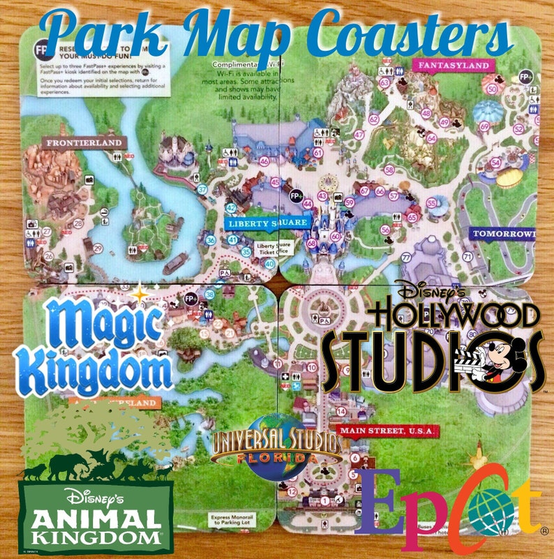 Disney World Map coasters on