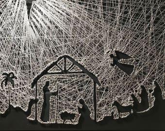 3b262e2f7cf1 Thread String Art Large Christmas Nativity Scene star of bethlaham  silhouette jesus in manger 3 wise men angel angels wall decor modern