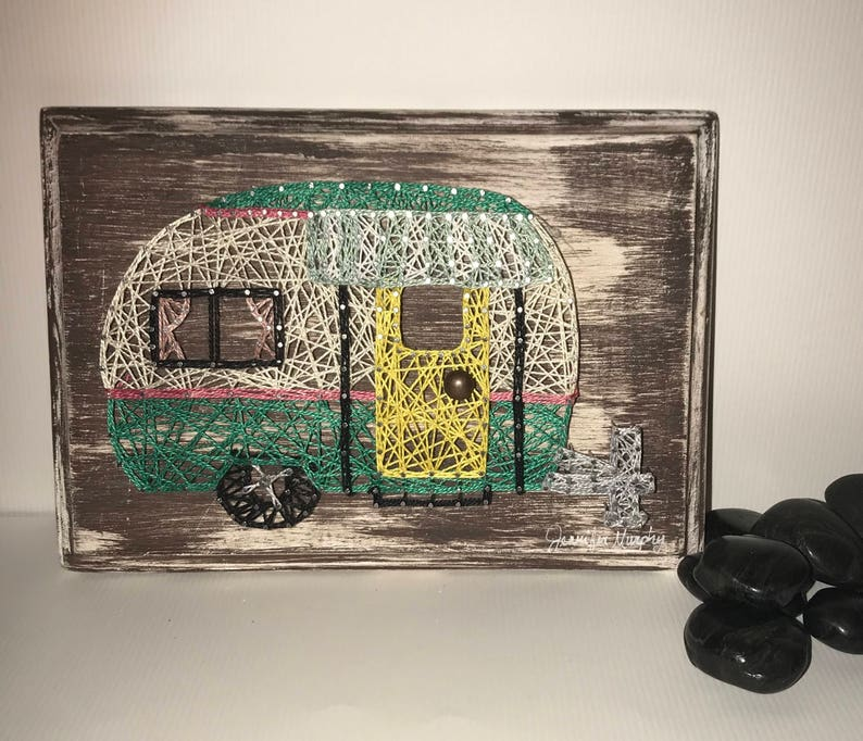 Vintage Camper RV String Art Happy Campers Wall Decor Nail Arts Personalize  Customizable Traveling Travelers Travel Home is Where You Park